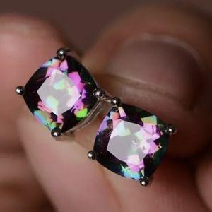 Women's 2 CT Square Rainbow Fire Opal Earrings